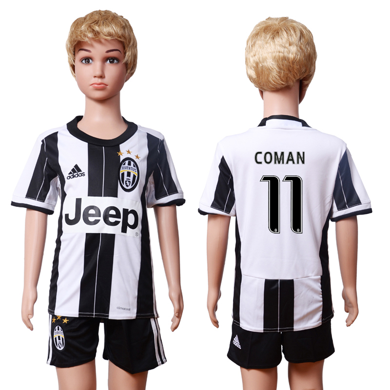 2016-17 Juventus 11 COMAN Home Youth Soccer Jersey