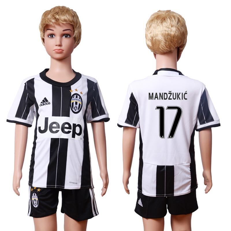 2016-17 Juventus 17 MANDZUKIC Home Youth Soccer Jersey