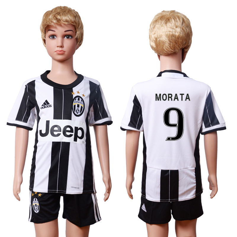 2016-17 Juventus 9 MORATA Home Youth Soccer Jersey