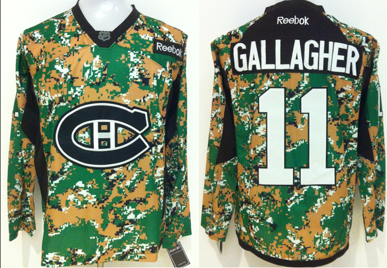 Canadiens 11 Brendan Gallagher Digital Camo Veteran's Day Reebok Jersey