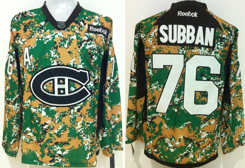 Canadiens 76 P.K. Subban Digital Camo Veteran's Day Reebok Jersey