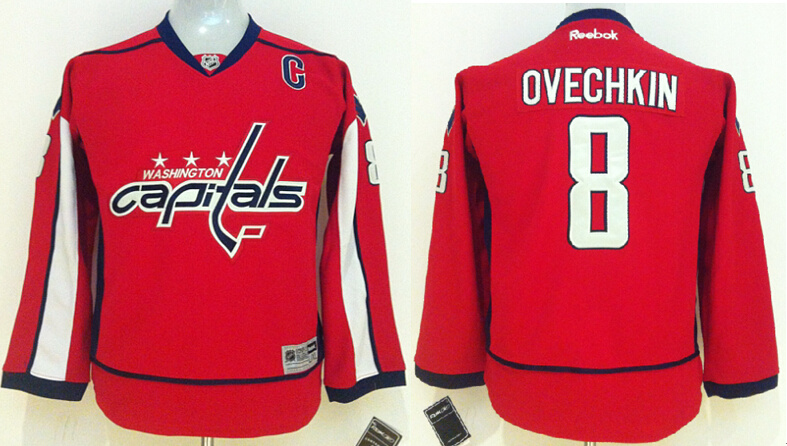 Capitals 8 Alexander Ovechkin Red Youth Reebok Jersey