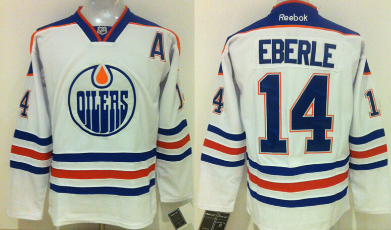Oilers 14 Jordan Eberle White Reebok Jersey