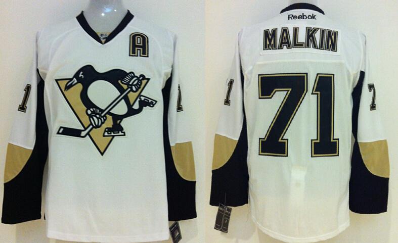 Penguins 71 Evgeni Malkin White Reebok Jersey