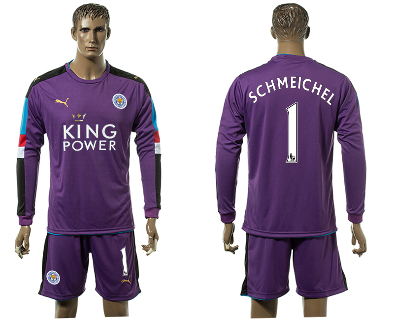 2015-16 Leicester City 1 SCHMEICHEL Purple Goalkeeper Jersey