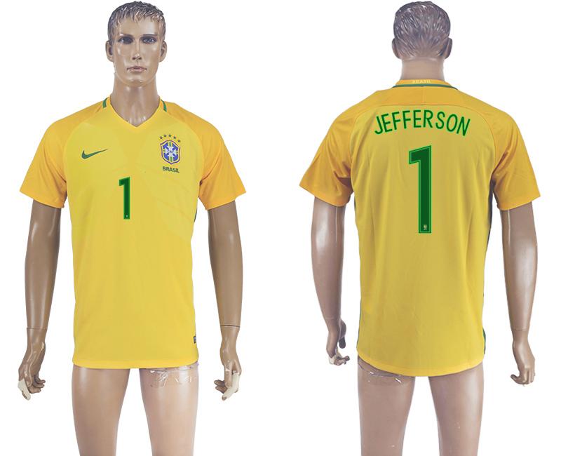 Brazil 1 JEFFERSON Home 2016 Copa America Centenario Thailand Soccer Jersey
