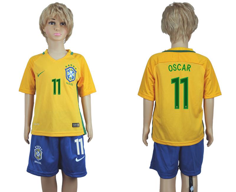 Brazil 11 OSCAR Home Youth 2016 Copa America Centenario Soccer Jersey