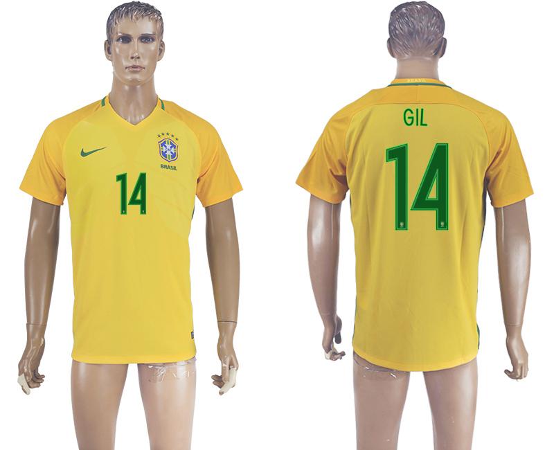 Brazil 14 GIL Home 2016 Copa America Centenario Thailand Soccer Jersey