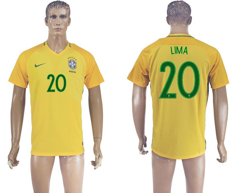 Brazil 20 LIMA Home 2016 Copa America Centenario Thailand Soccer Jersey