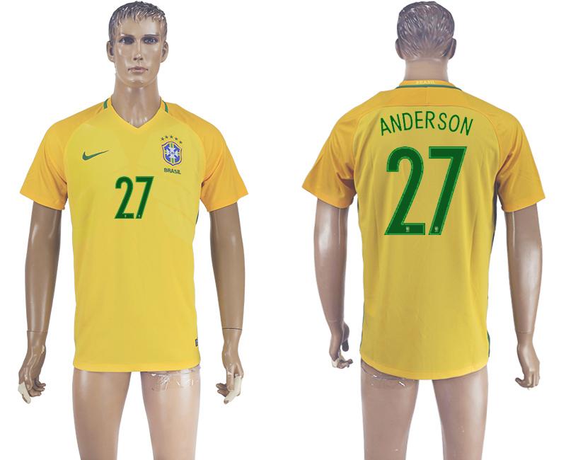 Brazil 27 ANDERSON Home 2016 Copa America Centenario Thailand Soccer Jersey
