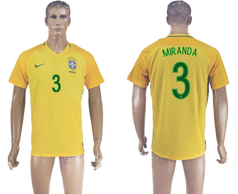 Brazil 3 MIRANDA Home 2016 Copa America Centenario Thailand Soccer Jersey