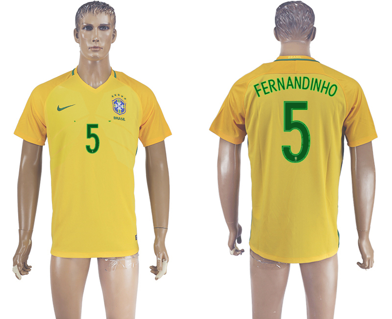 Brazil 5 FERNANDINHO Home 2016 Copa America Centenario Thailand Soccer Jersey