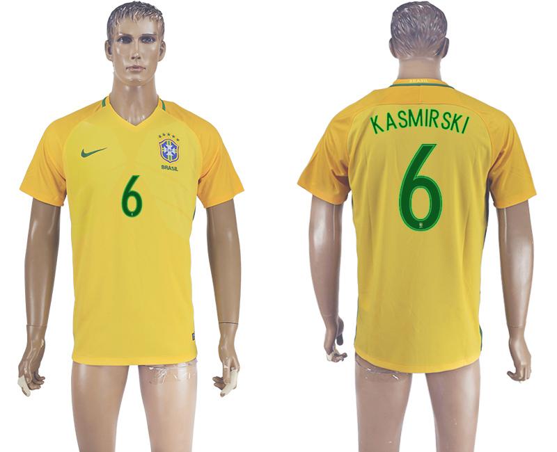 Brazil 6 KASMIRSKI Home 2016 Copa America Centenario Thailand Soccer Jersey