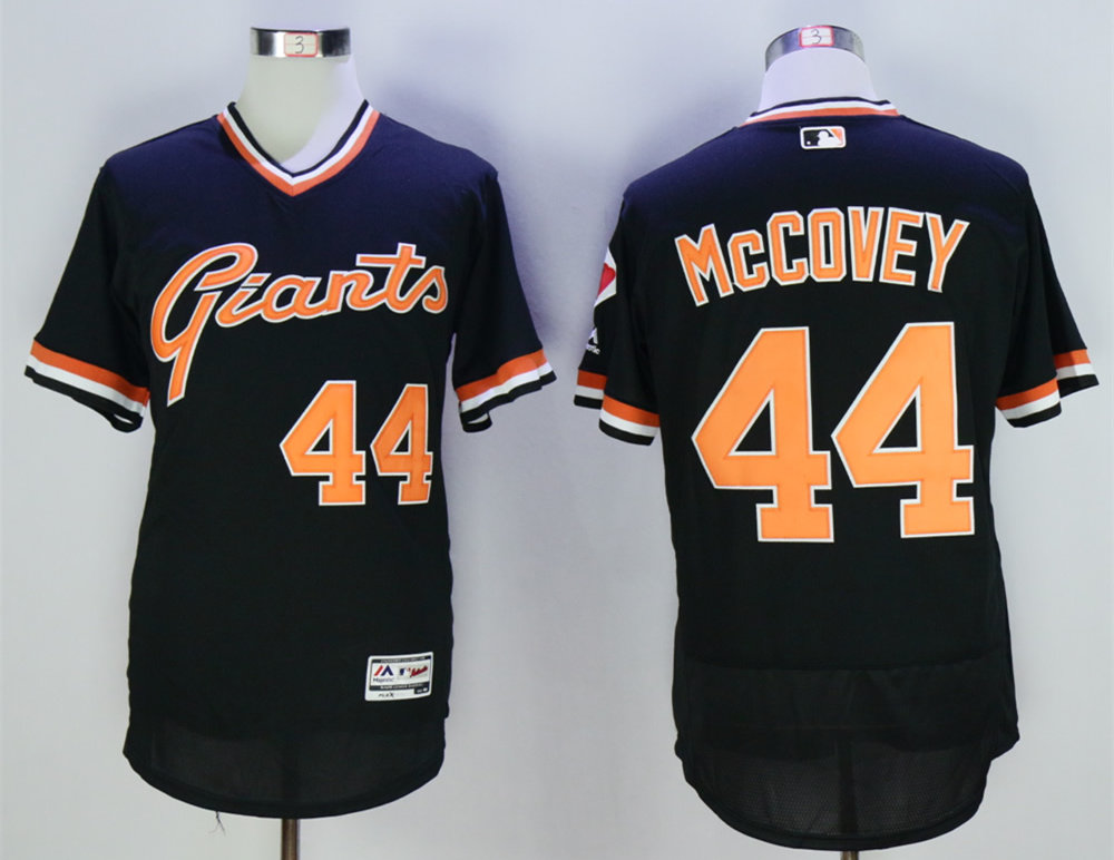 Giants 44 Willie McCovey Black Throwback Flexbase Jersey