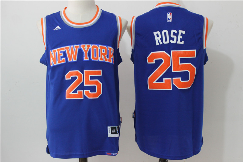 Knicks 25 Derrick Rose Royal Swingman Jersey