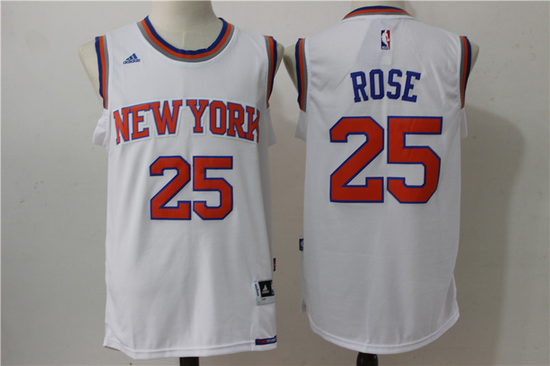 Knicks 25 Derrick Rose White Swingman Jersey