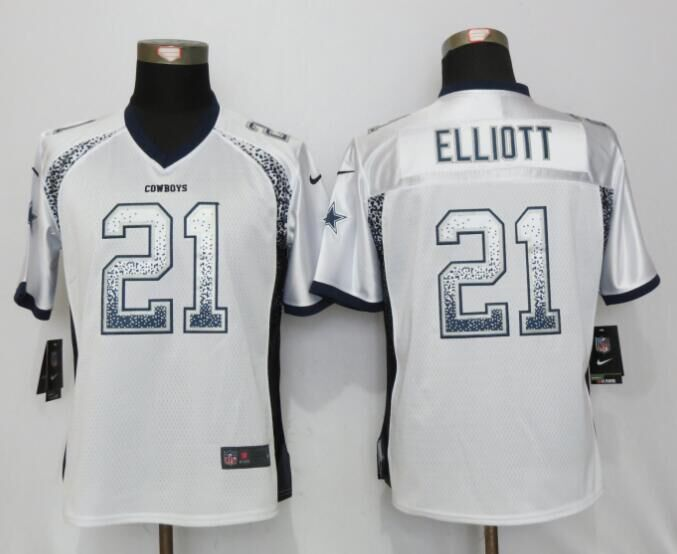 Nike Cowboys 21 Ezekiel Elliott White Women Drift Fashion Jersey