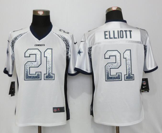 Nike Cowboys 21 Ezekiel Elliott White Women Drift Fashion Jersey