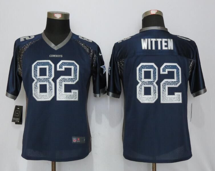 Nike Cowboys 82 Jason Witten Blue Women Drift Fashion Jersey
