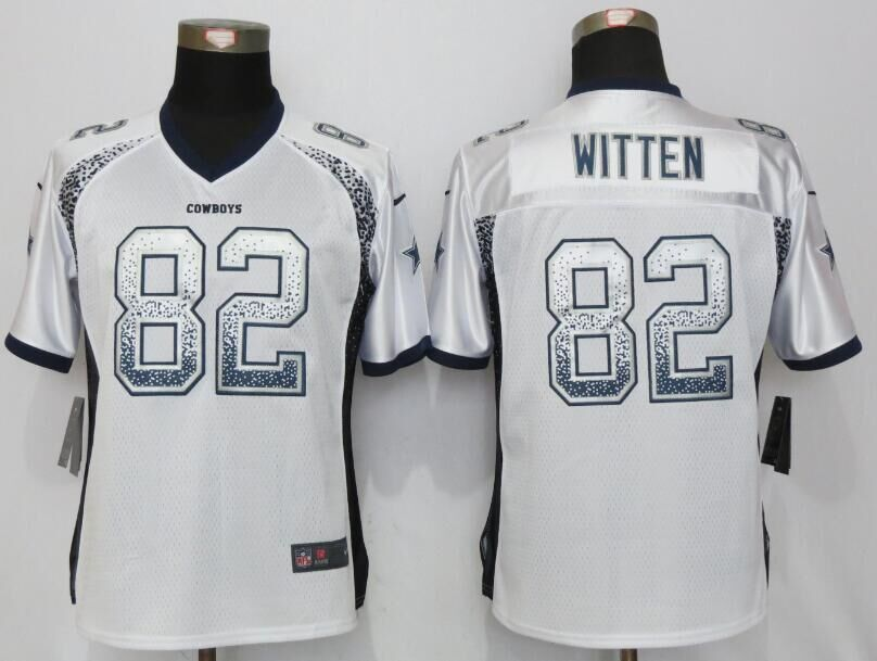 Nike Cowboys 82 Jason Witten White Women Drift Fashion Jersey
