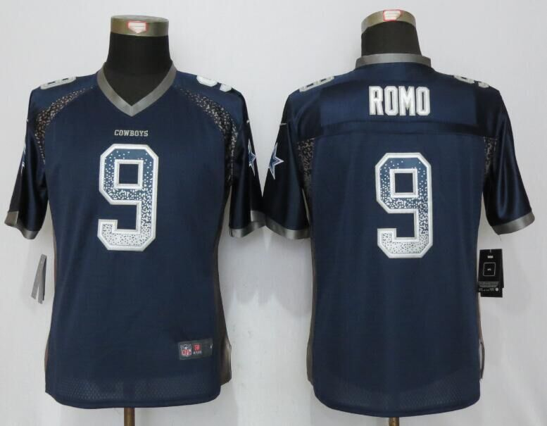 Nike Cowboys 9 Tony Romo Blue Women Drift Fashion Jersey