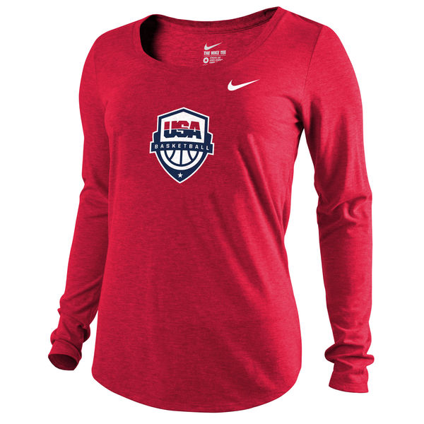 Team USA Basketball Nike Women's Scoop Tri Blend Long Sleeve T-Shirt Red