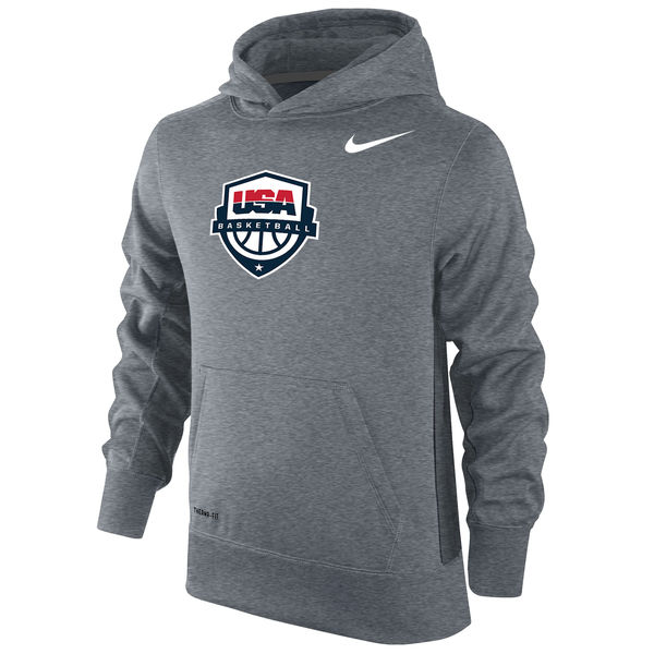 Team USA Nike Youth Basketball KO Performance Hoodie Gray