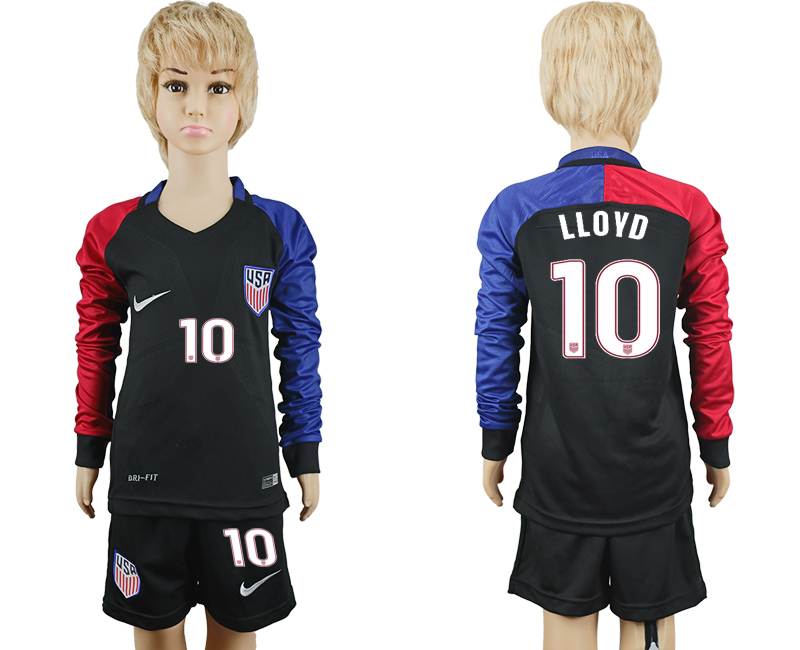 2016-17 USA 10 LLOYD Youth Long Sleeve Away Soccer Jersey