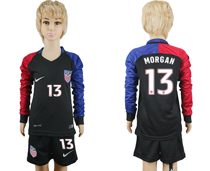 2016-17 USA 13 MORGAN Youth Long Sleeve Away Soccer Jersey