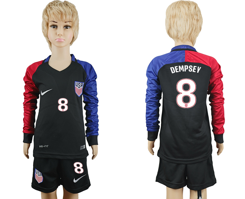 2016-17 USA 8 DEMPSEY Youth Long Sleeve Away Soccer Jersey