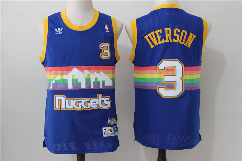 Nuggets 3 Allen Iverson Hardwood Classics Swingman Jersey