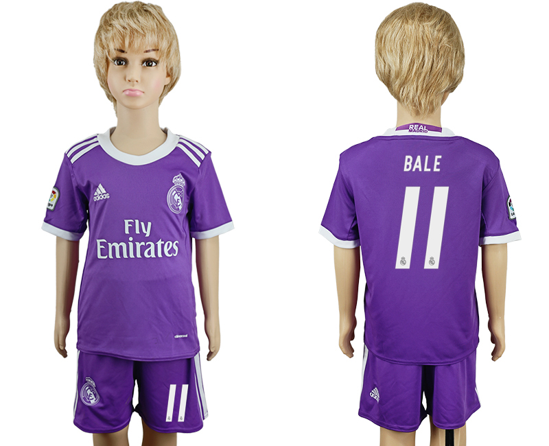 2016-17 Real Madrid 11 BALE Away Youth Soccer Jersey
