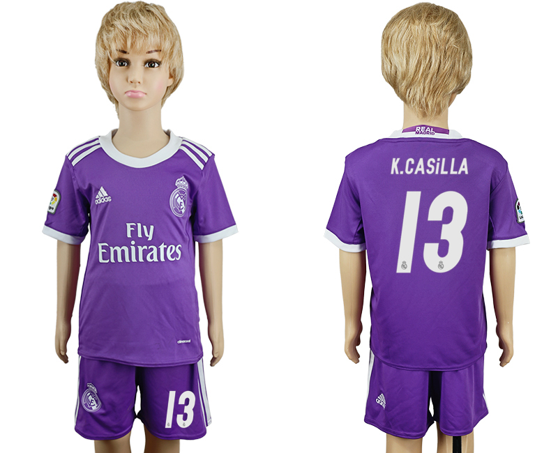 2016-17 Real Madrid 13 K.CASILLA Away Youth Soccer Jersey