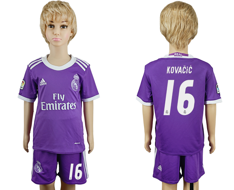 2016-17 Real Madrid 16 KOVACIC Away Youth Soccer Jersey