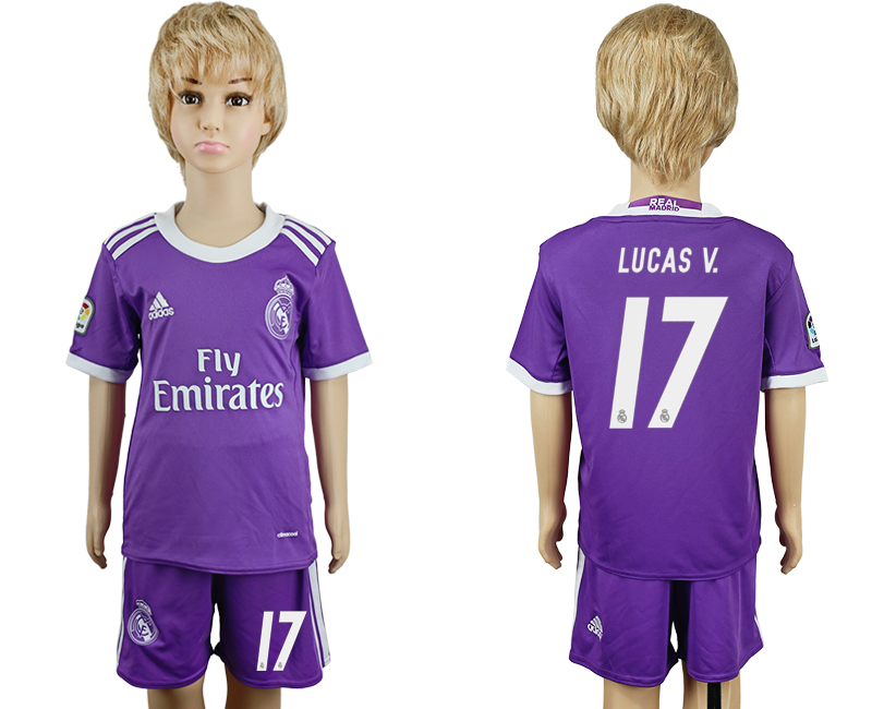2016-17 Real Madrid 17 LUCAS V. Away Youth Soccer Jersey