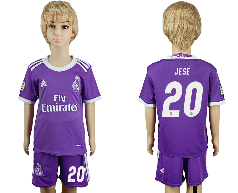 2016-17 Real Madrid 20 JESE Away Youth Soccer Jersey