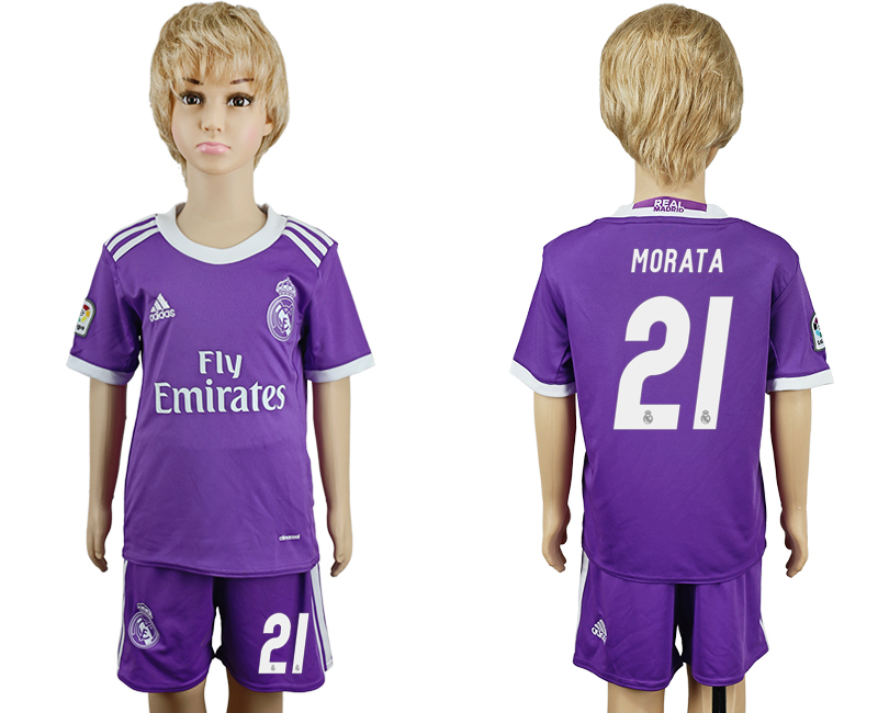 2016-17 Real Madrid 21 MORATA Away Youth Soccer Jersey
