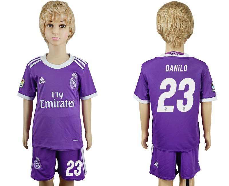 2016-17 Real Madrid 23 DANILO Away Youth Soccer Jersey