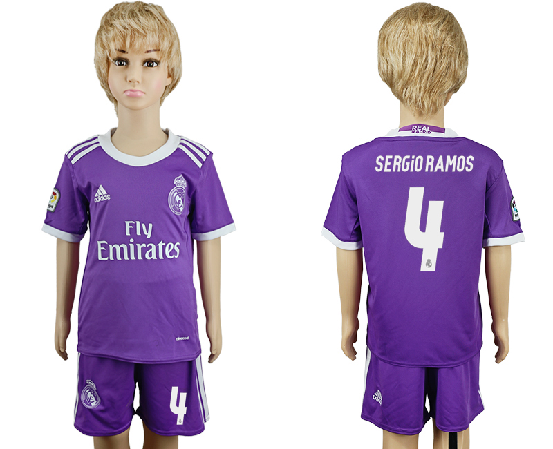 2016-17 Real Madrid 4 SERGIO RAMOS Away Youth Soccer Jersey