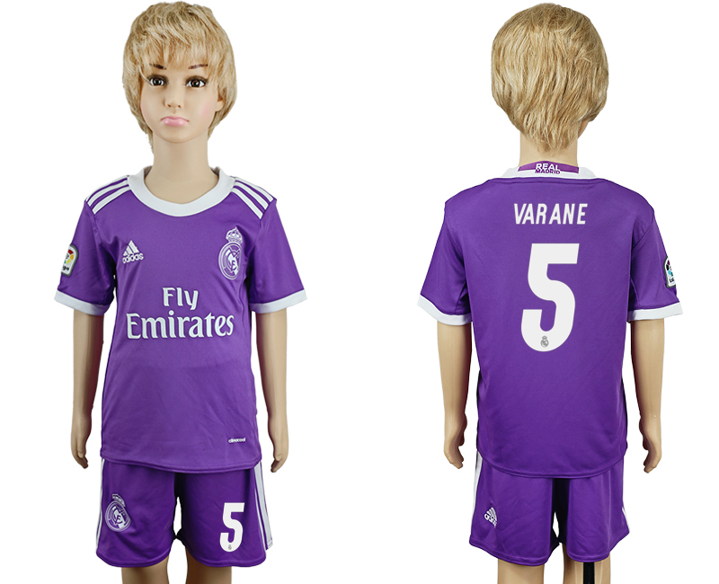 2016-17 Real Madrid 5 VARANE Away Youth Soccer Jersey