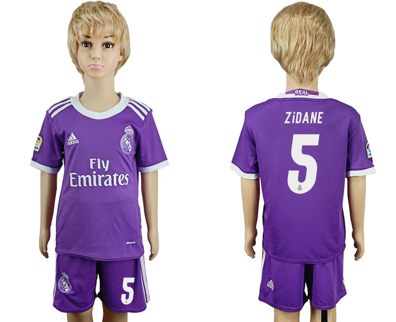 2016-17 Real Madrid 5 ZIDANE Away Youth Soccer Jersey