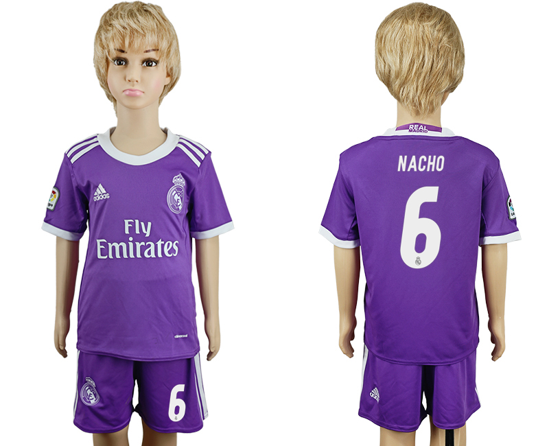 2016-17 Real Madrid 6 NACHO Away Youth Soccer Jersey