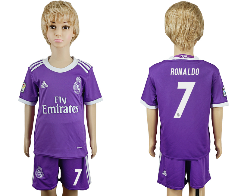 2016-17 Real Madrid 7 RONALDO Away Youth Soccer Jersey