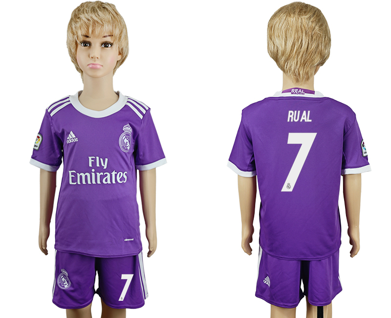 2016-17 Real Madrid 7 RUAL Away Youth Soccer Jersey