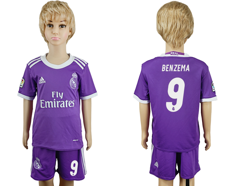 2016-17 Real Madrid 9 BENZEMA Away Youth Soccer Jersey