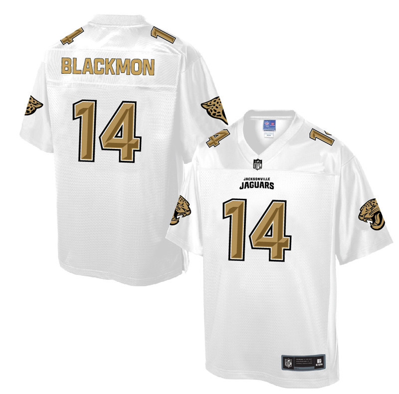 Nike Jaguars 14 Justin Blackmon Pro Line White Gold Collection Elite Jersey