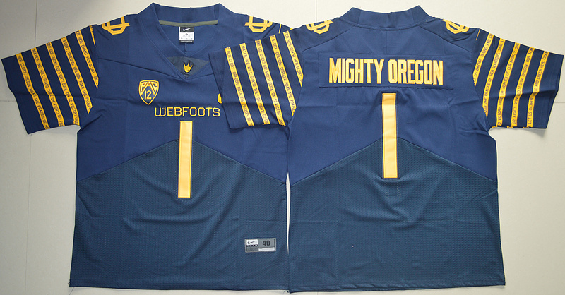 Oregon Ducks #1 Mighty Oregon Navy 2016 Spring Game 100th Anniversary Throwback Jersey