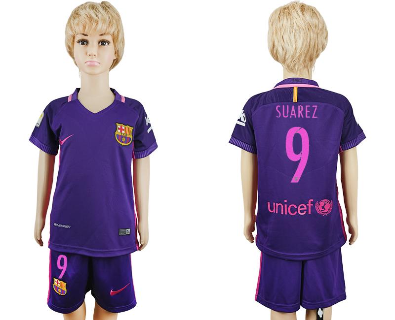 2016-17 Barcelona 9 SUAREZ Away Youth Soccer Jersey
