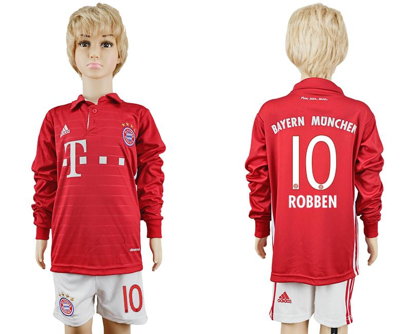 2016-17 Bayern Munich 10 ROBBEN Youth Long Sleeve Soccer Jersey
