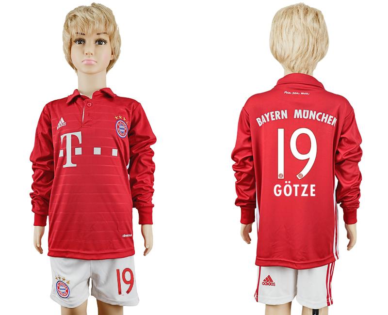 2016-17 Bayern Munich 19 GOTZE Youth Long Sleeve Soccer Jersey